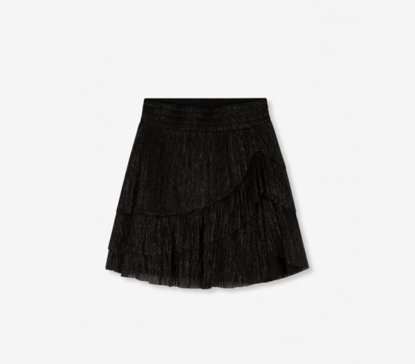 Alix the Label Lurex Mesh Ruffle Skirt