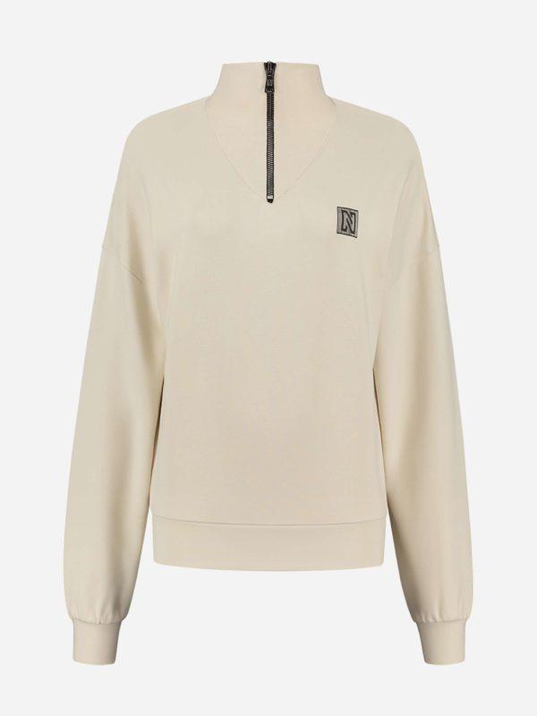 Nikkie Zipper V-Neck Sweater