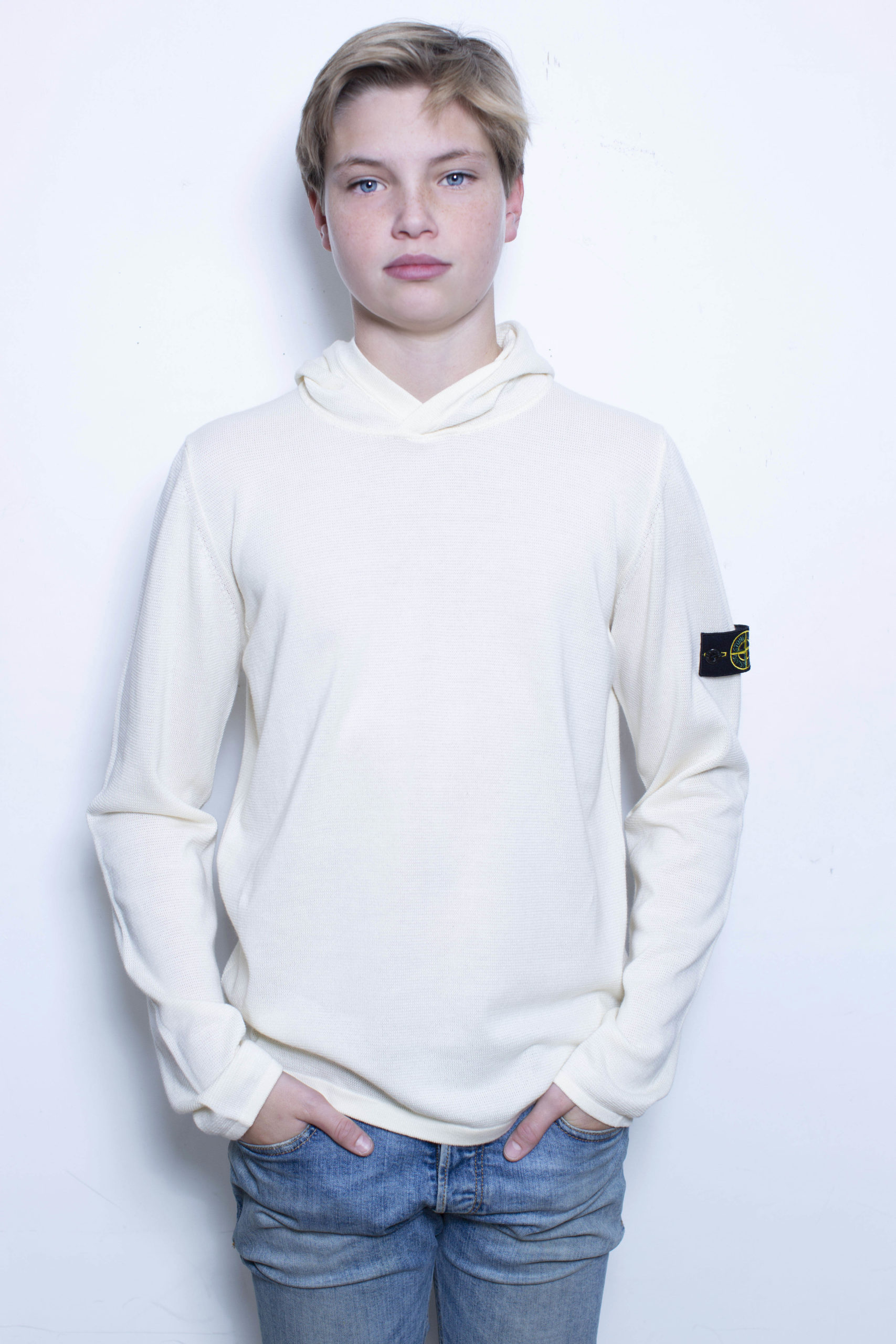 Stone Island knitwear hoodie creme